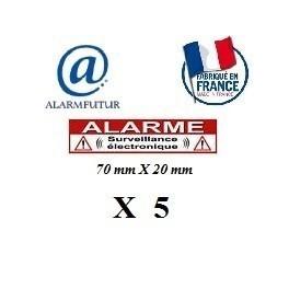 "Lot de 5 Autocollants dissuasif ""ALARME"" (70x20mm)"