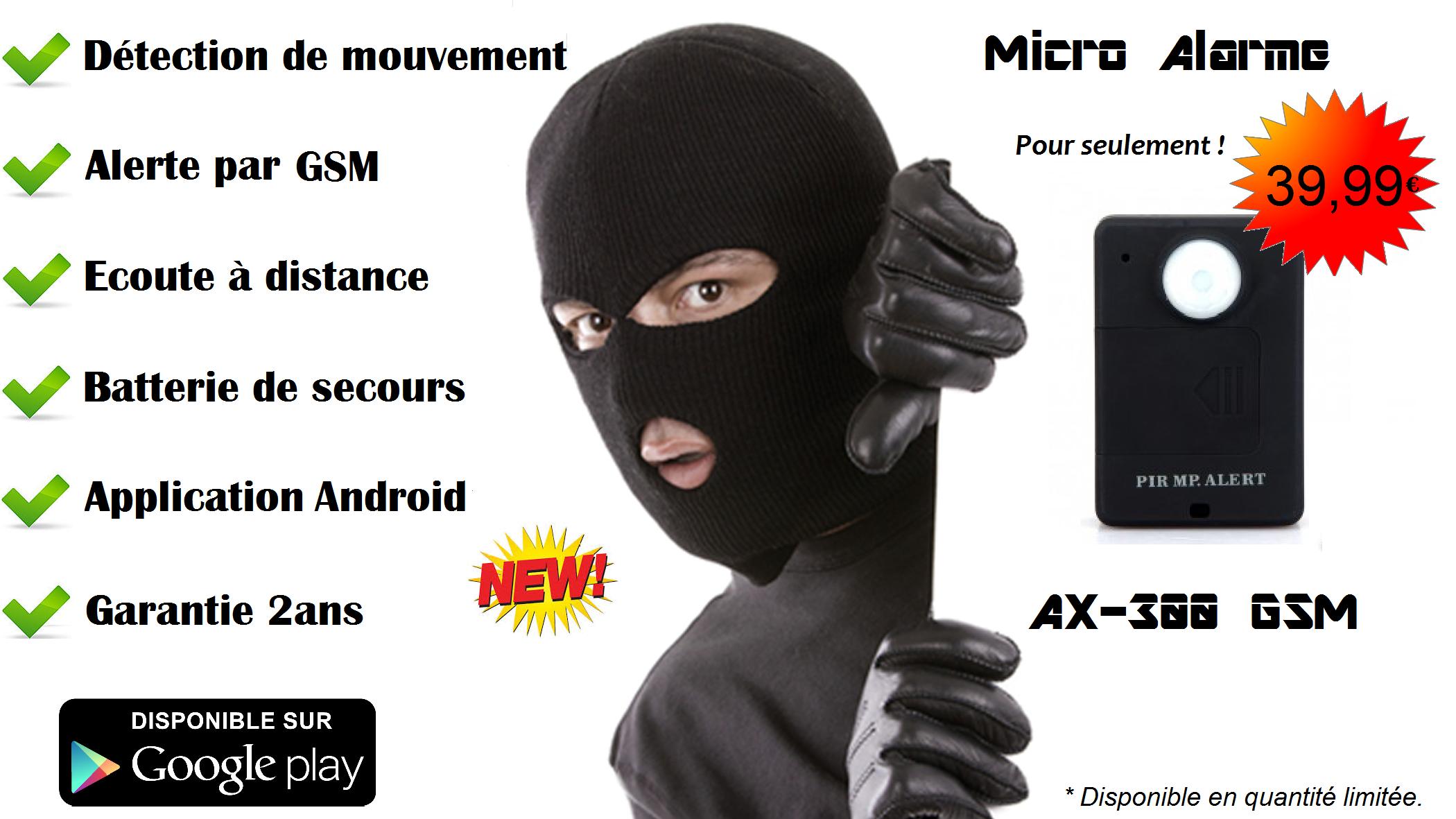 New !  La Micro alarme AX-300 GSM