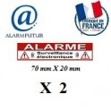 "Lot de 2 Autocollants dissuasif ""ALARME"" (70x20mm)"