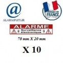 "Lot de 10 Autocollants dissuasif ""ALARME"" (70x20mm)"