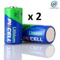 Lot de 2 piles lithium 3 volts CR123A Pkcell